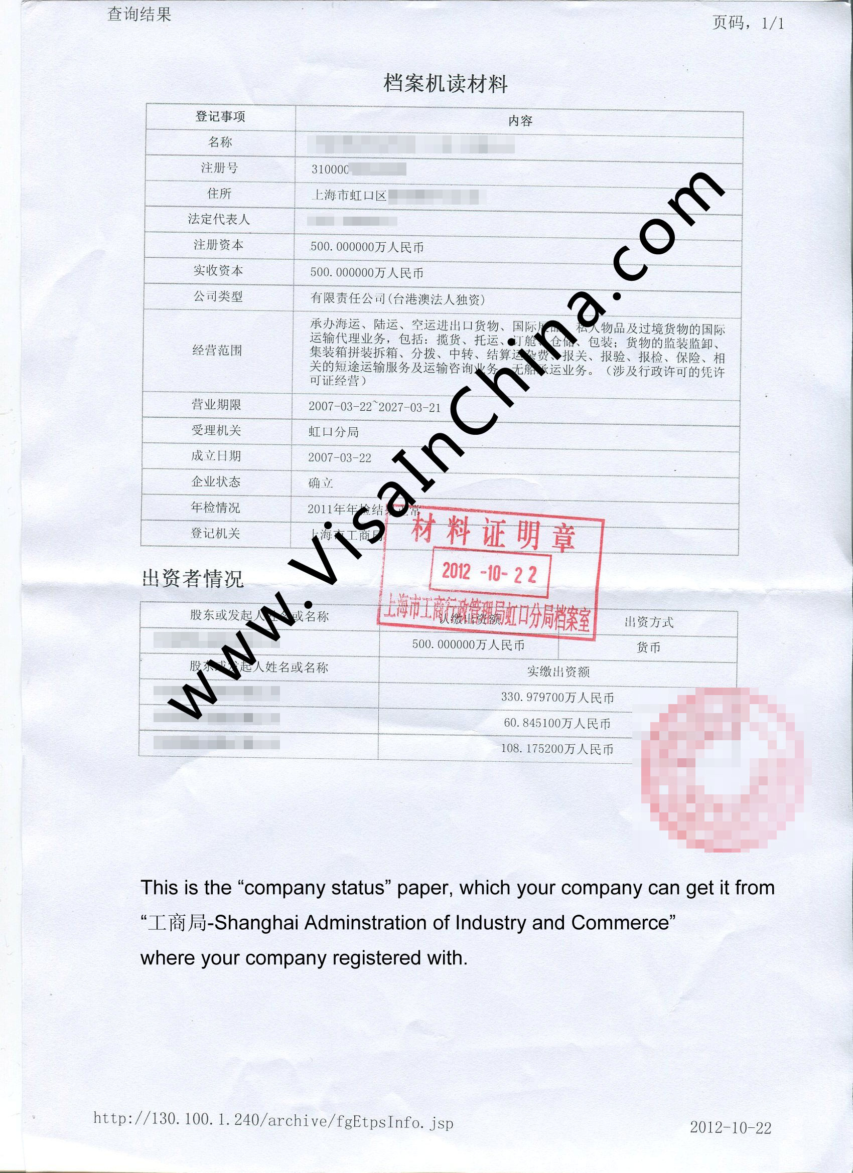 China company status paper copy check the sample stopboris