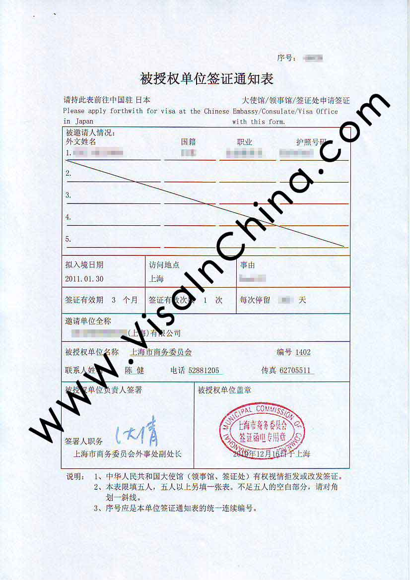 China m visa business visa extension and renewal in shanghai sample important notice altavistaventures Gallery